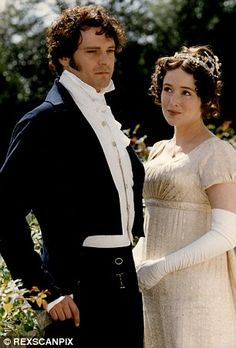 Colin Firth as Mr Darcy alongside Jennifer Ehle's Elizabeth Bennet in the acclaimed BBC adaptation of Pride and Prejudice. Bridget Jones, Jane Eyre, Jennifer Ehle, Jane Austen Movies, Drame, Photo Series, Pride And Prejudice, Period Dramas, Les Oeuvres