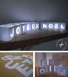 Fabriquer des photophores Joyeux #Noel. Le gabarit est à imprimer gratuitement, puis à découper et déposer une bougie led pour l'éclairer