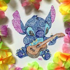 2017 trend Disney Tattoo - Stitch (Drawing by Kristina_Illustrations ? Disney Stitch, Lilo Y Stitch, Lilo And Stitch Drawings, Lilo And Stitch Tattoo, Disney Kunst, Arte Disney, Disney Art Diy, Disney Drawings, Cute Drawings