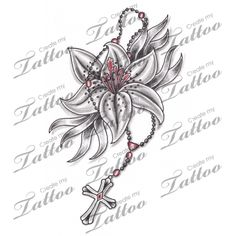 Marketplace Tattoo Lily Flower & Rosary Tattoo #6830 | CreateMyTattoo.com