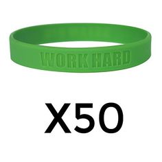 Work Hard Dream Big Motivational Silicone Wristbands Custom Embossed Quote Rubber bands for Fitness Workouts Crossfit Basketball Lifting Green 50 Pack ** Click affiliate link Amazon.com on image for more details.
