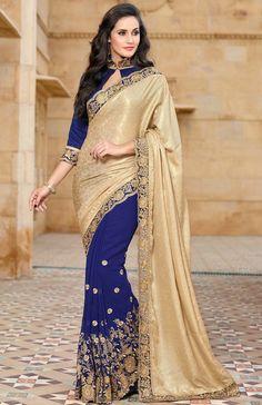 Blue Satin Saree with Blouse - SAREE - #Latest-Saree-Design