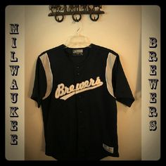 WOW!$ALE! ⚾Authentic MILWAUKEE BREWERS jersey⚾ $EASON OPENER SPECIAL  BREW CREW SPECIAL!!! MLB genuine merchandise by True Fan⚾ MILWAUKEE BREWERS jersey, worn only once to a game @ Miller Park: Astros vs Brewers.  Beautifully made, securely stitched lettering, in blue/grey/white/gold.  Button-up short-sleeved shirt.; 100% Polyester, exclusive of decoration.  Men's size Medium; fits like Misses L-XL.  In EUC; from SFPF home.  ***THANK U FOR VISITING MY CLOSET*** True Fan Tops