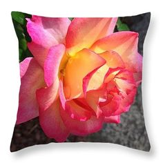 """Evening Rose With Droplets Throw Pillow 16"""" x 16"""""""