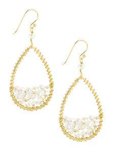 Beaded Teardrop Earrings, Clear by Panacea at Last Call by Neiman Marcus. $35.00
