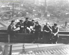 1962 - The Co-operative Insurance Society building opened - the tallest office block in Europe. The image shows workmen constructing the building. Old Pictures, Old Photos, Vintage Photos, Manchester New, Manchester England, Rochdale, Salford, Southport, Historical Photos