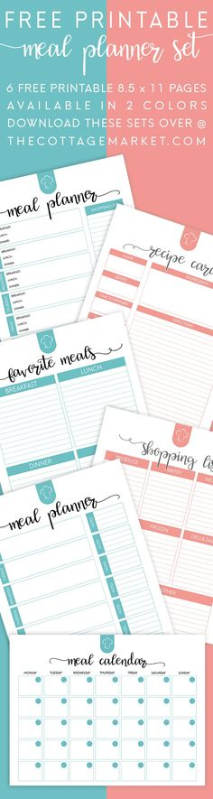 FREE Printable Meal Planner Set!   6 Free Printables Available in 2 Colors...Get those Meal Plans Organized for the New Year!  Everything you need is right here and it's FREE! #fitnessplanner,