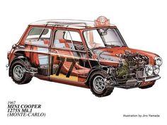 Cutaway of the Monte Carlo Rally winner Mini Cooper Classic, Mini Cooper S, Classic Mini, Classic Cars, Mini Drawings, Car Drawings, Cutaway, Aston Martin, Bmw