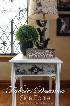Update a plain side table with a little paint and fabric!