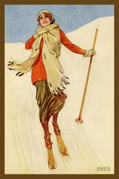 Woman Skier 1925. Winter Fun, Winter Sports, Christmas Images, Christmas Cards, Sports Quilts, Ski Posters, Winter Images, Skiers, Antiques Online