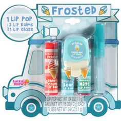 Frosted Ice Cream Truck Lip Gloss n Balm 5 Pieces Vanilla Mint, Cherry Chunk, Vanilla Bean, Chocolate Mint