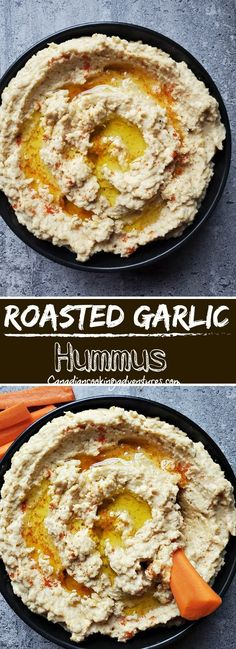 This is the Best Roasted Garlic Hummus you will ever try. Makes for a great snack and appetizer. #appetizer #snack #superbowl #vegan #vegetarian #garlic #roasted #hummus #recipe #homemade Best Vegetarian Recipes, Indian Food Recipes, Vegan Vegetarian, Whole30 Recipes, Healthy Recipes, Huhot Recipe, Hummus Recipe, Roasted Garlic Hummus, Eastern European Recipes