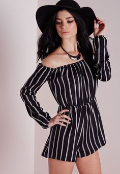 Missguided - Striped Bardot Playsuit Black