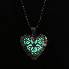 Locket Luminous Bronze Hollow Heart Glow In The Dark Jewellery Necklaces ho21 #new #necklace