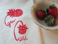 """Grow Wild"" teatowel from Fastsoft Press. Block-printed on muslin."