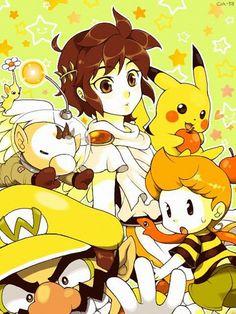 Pit (Kid Icarus), Pikachu, Olimar (Pikmin), Lucas (Earthbound) & Wario fan art