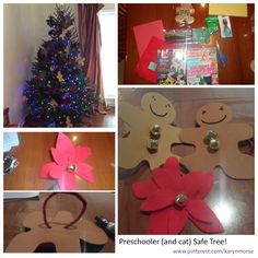 I was inspired by craft ideas from the Woman's Day magazine and a friend's recommendation to hang bells on the tree. This project was inexpensive and simple. My son did not help me make the decorations but he did put them on the tree. I also used the poinsettias to make a felt chain for the tree. Very Old School.