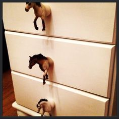 Little chest of draws Farrow an ball paint Horse handles - cute Horse Themed Bedrooms, Bedroom Themes, Girls Bedroom, Cute Bedroom Decor, Living Room Decor Cozy, Cowgirl Bedroom Decor, Cowgirl Room, Western Rooms, Chest Of Draws