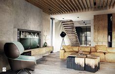 Bielsko - Biała - Średni salon z antresolą, styl nowoczesny - zdjęcie od razoo-architekci