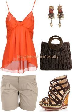 """Tosca Sandals & Sheer Orange Tank"" by casuality on Polyvore"