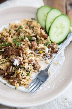 Lebanese Lamb Rice | thehealthyfoodie.com  I added red onion, garlic, frozen spinach, and lemon zest. Excellent!