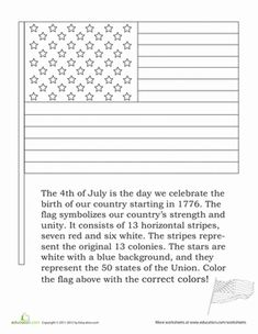 American Flag Coloring Worksheet... we used this one today.  Great for following directions and seeing that there is a specific way the flag is colored.