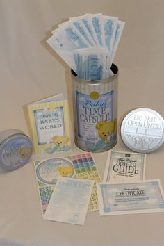"""MUST HAVE Baby Shower Gift. Have guests at a Baby Shower fill out the """"Message to the Future"""" letters to the baby. Make predictions about what the baby will be when he or she grows up. Save memories and mementos in this heartfelt and enduring Baby Time Capsule. Let your child open it when he or she graduates high school, so see what life was like when they were born. www.timecapsule.com"""