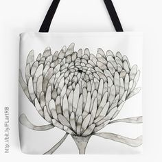 Ink Chrysanthemum Tote Bags by Floating Lemons Art for Red Bubble Lemon Art, Beautiful Gifts, Chrysanthemum, Black Art, Tote Bags, Bubbles, Ink, Flowers, Tote Bag