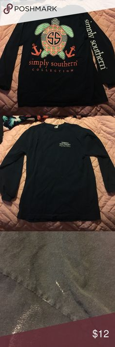 Simply southern long sleeve Simply southern long sleeve. See last picture for white paint that didn't come out with one wash. Might come out when  scrubbed. Bundle and save. Every purchase will include free item. Accepting most offers! Tops Tees - Long Sleeve