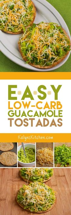 Easy Low-Carb Guacamole Tostadas are perfect when it's too hot to cook, or eat them for a Meatless Monday lunch any time of year. I used low-carb tortillas, but you can make these with any kind of tortillas if you don't care about the carbs. [found on KalynsKitchen.com]