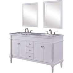 Lexington x 3 Drawer 4 Door Vanity Cabinet with 2 Mirrors - Antique White Finish Single Bathroom Vanity, Vanity, Vanity Cabinet, Cabinet, Drawers, Elegant Decor, White Marble Countertops, Office Bathroom, Marble Countertops