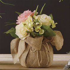 Floral & Planters - An artful arrangement of fabric flowers is beautifully presented in a burlap bag—making it a perfect centerpiece. Small Flower Arrangements, Artificial Flower Arrangements, Small Flowers, Artificial Flowers, Beautiful Flowers, Deco Floral, Floral Design, Valentine Bouquet, Artificial Plant Wall