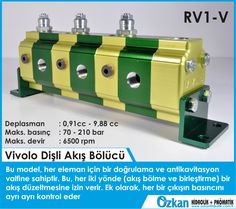 Vivolo RV1-V FLOW DIVIDER In this version the flow divider has one phase correction and anticavitation valve for each element, this allow a flow correction in both direction (flow division and flow unification). In addition it can adjust the relief pressure to a different value for each element.  Displacements from 0.91 cm3 / revolution to 9.88 cm3/revolution. Maximum pressures up to 210 bar. Rotation speeds up to 6500 rpm.  Vivoil Oleodinamica Vivolo