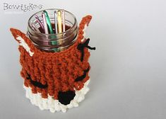 Fox Jar Cozy by Briana Olsen, FREE pattern, thanks so xox....what does the fox say????!!!!!