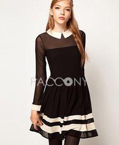 Sweet Cute Balck Doll Collar Split Joint Long Sleeve Chiffon Dresses