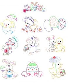 Vintage Stitch Easter Machine Embroidery Designs by JuJu