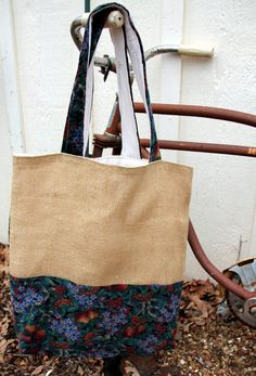 Large Tan Burlap Corduroy Tote/Bag Reversible by brigidbrammerbags, $24.00