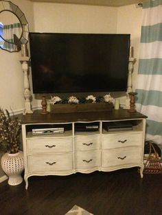 My tv stand made from a Drexel French provincial dresser