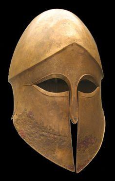 Corinthian helmet wrought of Bronze, ca. 500 BC.