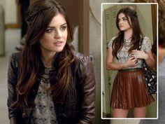 Aria Montgomery leather skirt