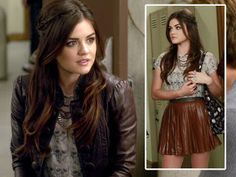 Aria Montgomery leather skirt
