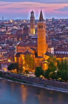 Basilica di Santa Anastasia at sunset, Verona, Veneto Region, Italy. Places Around The World, Oh The Places You'll Go, Places To Travel, Places To Visit, Around The Worlds, Travel Destinations, Wonderful Places, Beautiful Places, Amazing Places