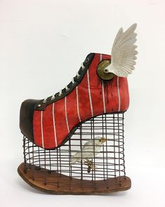 Mixed media sculpture, Material: mixed media on reinforced polyester, with taxidermy bird. Sculpture against bird captivity. Birds are meant to fly and be with others of their own kind in a natu Creative Shoes, Unique Shoes, Weird Fashion, Fashion Shoes, Crazy Shoes, Me Too Shoes, Funny Shoes, Art Sculpture, Shoe Art