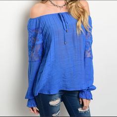 "Royal blue off the shoulder top Royal Blue Off the Shoulder Top  Fabric Content: 100% POLYESTER Description: L: 24"" B: 21"" W: 42"" Tops Blouses"