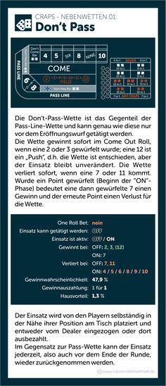 Craps Roll the Dice Regeln Don't Pass Bet Wette erklärt Jack Black, Poker, Roulette, Dice, Boarding Pass, Education, Cubes