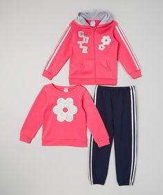 Fuchsia 'Cute' Zip-Up Hoodie Set - Infant, Toddler & Girls #zulily #zulilyfinds