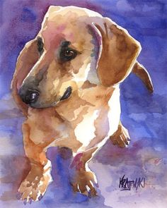 Dachshund Art Print of Original Watercolor by dogartstudio on Etsy