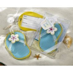 Flip-Flop Luggage Tag in Beach-Themed Gift Box - Baby Shower Gifts & Wedding Favors (Set of 24)