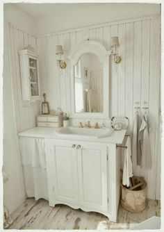 Rustic Romantic touches for a small bathroom in a tiny house perhaps.