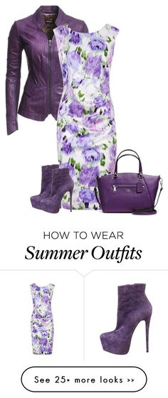 """leather jacket and sleeveless dress violet"" by cm65 on Polyvore featuring Danier, Kaliko, Christian Louboutin and Coach:"